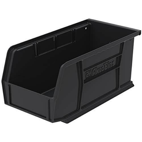 Akro-Mils 30230 AkroBins Plastic Storage Bin Hanging Stacking Containers, (11-Inch x 5-Inch x 5-Inch), Black, (12-Pack)