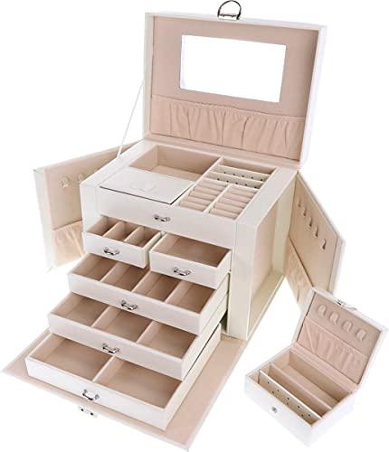 Behave Joyero grande con 5 niveles, joyero XXL con cajones y espejo, para collares, anillos, pulseras, pendientes, relojes, etc., incluye caja de viaje, color blanco