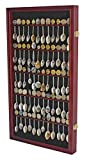 DisplayGifts 60 Souvenir Spoon Tea Spoon Display Case Rack Holder Wall Cabinet, UV Protection, Lockable Cherry Finish