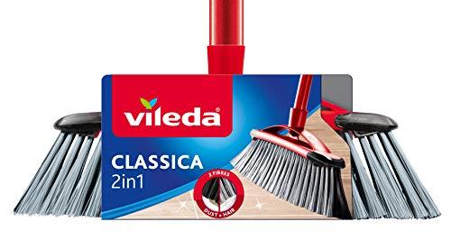 Vileda Classica 2 in 1 Scopa con Manico, Fibre per Polvere e Capelli, Plastica, Rosso/Nero, 32x5.3x78 cm