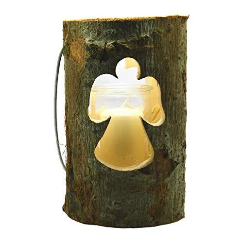 Windlicht - Holz Baumstamm Motiv Engel, Laterne mit Glaseinsatz & Wachs-Kerze 18x13cm