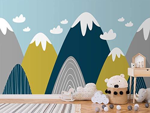 Oedim Fotomural Infantil Vinilo para Pared Montañas de Colores | Mural | Fotomural Infantil Vinilo Decorativo |350 x 250 cm | Decoración comedores, Salones, Habitaciones