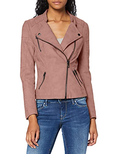 ONLY onlAVA FAUX LEATHER BIKER OTW NOOS, Chaqueta Mujer, Rosa (Ash Rose), 34