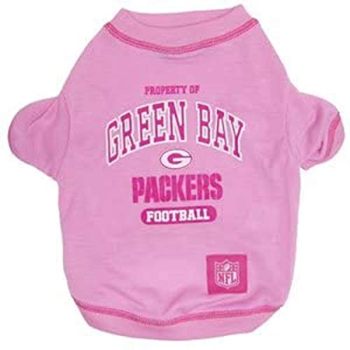 NFL Green Bay Packers Pink Dog T-Shirt, Small. - Football Sports Fan Pet Shirt.