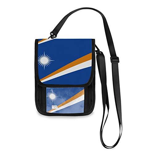 Marshall Islands Bandera RFID bloqueo pequeñas Crossbody bolsas de teléfono celular monedero con ranuras para tarjetas de crédito