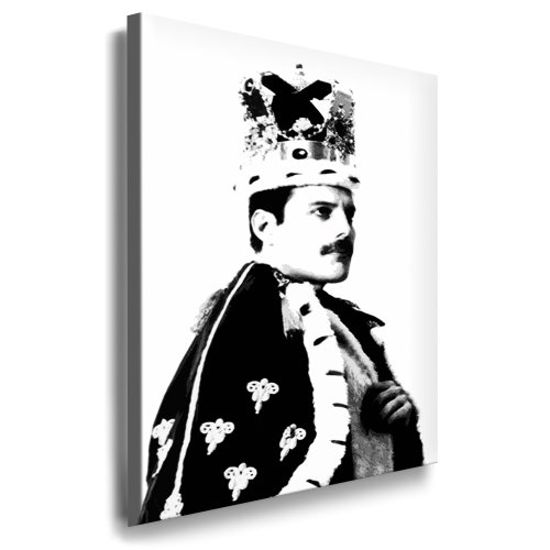 Affiche murale Portrait photo de Freddie Mercury en reine 100 x 70 cm Image déjà tendue sur cadre Impression d'art Pop Art à suspendre – Affiches décoratives – Décoration Reproductions de vedettes de la musique