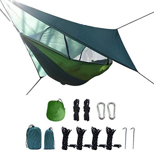 Hamacs, Meubles de Camping Balançoire Anti-Moustique Extérieur Double Anti-retournement Charge Confortable et Respirante 300 Kg (Couleur: Vert + Vert Fruit, Taille: 260 * 140cm) Confortable