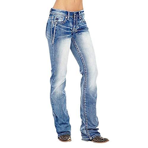 AKlamater KKSH Jeans en jean extensible taille moyenne pour femme avec motif drapeau (S Bleu 2)