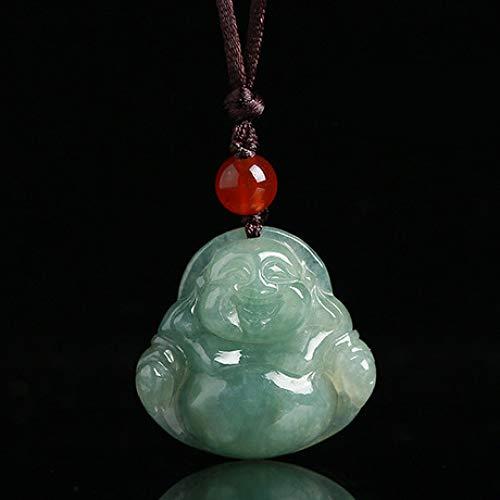 Mayanyan Natürlicher Jade-Anhänger geschnitzter Buddha-Jade-Anhänger, Unisex