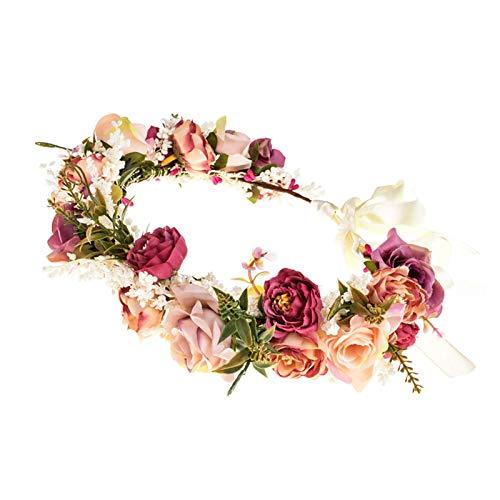 Blumenkrone Blumenkranz Haare für Frauen Hochzeit Party Damen Haarband Blumen Mädchen Rose Blumenkopf Tragen Mit Band Mutterschaft Photo Requisiten (Rot)