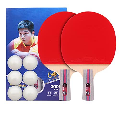 LINGOSHUN Juego de Raquetas de Ping Pong de 3 Estrellas,Raquetas de Tenis de Mesa PortáTil para Adultos,NiñOs,Juego de Interior/Exterior / 2 Player Set/B