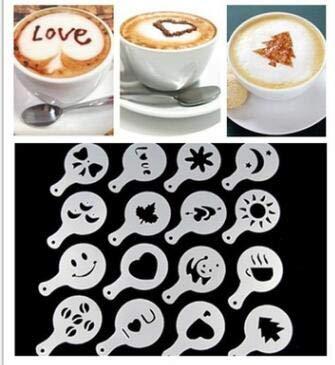 Xinapy 16 Stück Edelstahl Kaffee Schablonen DIY Kaffee Dekor Werkzeugset Cappuccino Form zum Dekorieren von Haferflocken Cupcake Kuchen