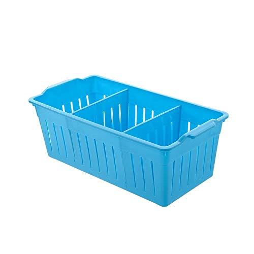 Zfggd Compartimiento de plástico Caja de Almacenamiento de Las misceláneas de Escritorio Cosméticos Cesta del almacenaje de la Ropa Interior del Estudiante compartida de la Cesta del almacenaje Azul