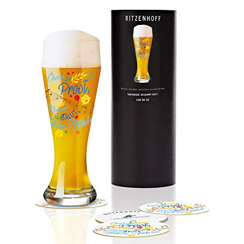 RITZENHOFF Bicchiere da Birra, Cristallo, 8.5x 8.5x 23cm, Cristallo, Blau/Gelb/Rot/Kupfer, 8.5 x 8.5 x 23 cm