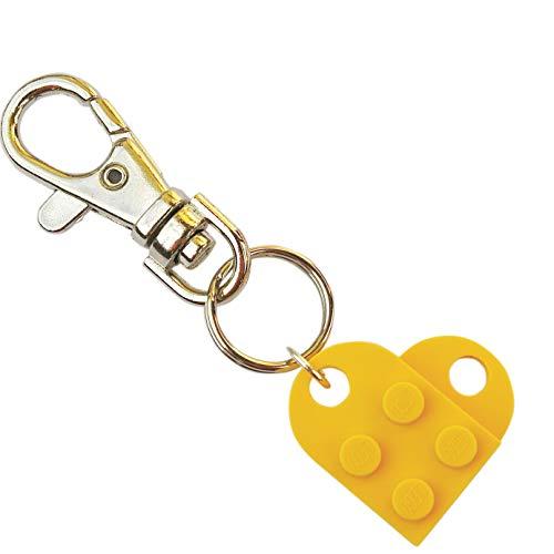 SJP Manchetknopen liefde hart sleutelhanger handgemaakt van Lego® platen (geel) bruiloft, vriendin, Valentijnsdag, verjaardag, dames sieraden cadeau
