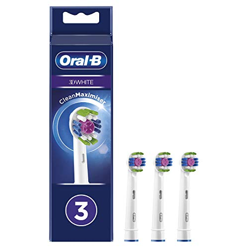 Oral-B 3D White Testine di Ricambio per Spazzolino Elettrico con Tecnologia CleanMaximiser, Confezione da 3 Pezzi