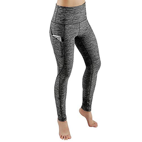 YEBIRAL Damen Leggings, Sporthose Lang Sportleggins, Blickdicht Yoga Hose, High Waist Sport Leggins Fitnesshose mit Taschen(S,Grau)