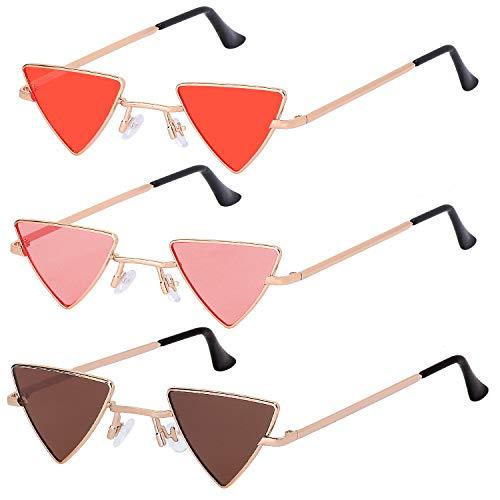 Haichen 3 pares de gafas de sol triangulares clásicas Retro Punk Metal Mirror Frame Cat-eye Glasses para mujeres Hombres Candy Color (Té + Rojo + Naranja)