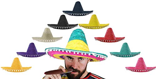 Accesorio para disfraz de palo rosa mexicano con bordes de popótamo, accesorio para disfraz para hombre. Sombrero mexicano, paja, fiesta o noche, 6 unidades