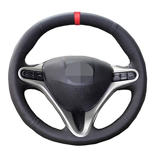 OceanAutos Para Honda Civic2006-2011, Cubierta Negra para Volante de Coche, Estilo de Coche, Marcador Rojo, Cuero Artificial