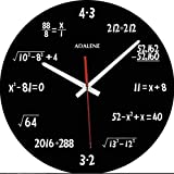 Adalene Math Clock with Mathematical Expressions, Unique Wall Clock Gifts for Engineers, Math Teacher Gift - Unusual Cute Funny Clock, Silent Non Ticking Black Wall Clocks Battery Operated 12 Inch