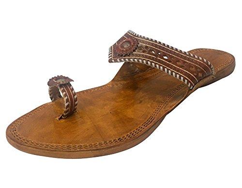 Step n Style Kolhapuri Chappal Indische Sandalen Kolhapuri Hausschuhe Ethnische Schuhe Damen Sandalen Indische Leder Chappals, - kupfer - Größe: 40 EU