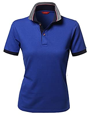 Xpril Women's Solid Cool Dri-Fit Active Leisure Short Sleeve Polo T-Shirt Tee