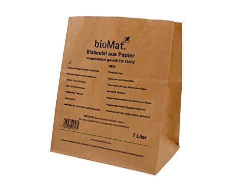 7 Lt. BIOMAT® kompostierbare Papierbeutel (120 Stk. Papiertüten)