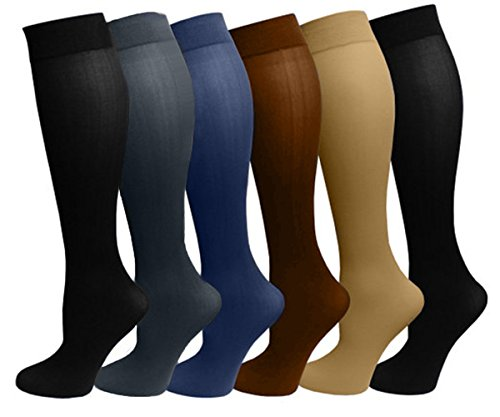 6 Pairs Pack Women Stretchy Spandex Trouser Socks Opaque Knee High (Assorted)