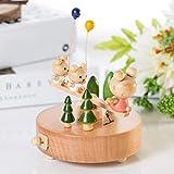 QIDOFAN Crafts Caja de Madera Madera Color música hecha de madera sólida regalos del balancín que sostienen los globos Tres Winnie The Music Box Muebles for el hogar regalo de cumpleaños ornamentos pe