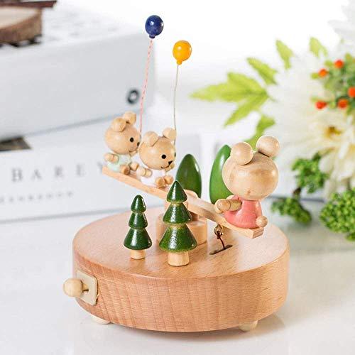 QIDOFAN artisanat Bois Couleur Bois Musique boîte en bois massif Trois Ballons Seesaw Winnie Tenir La boîte à musique ameublement Cadeaux personnalisés Ornements de cadeau d'anniversaire élégant et 11