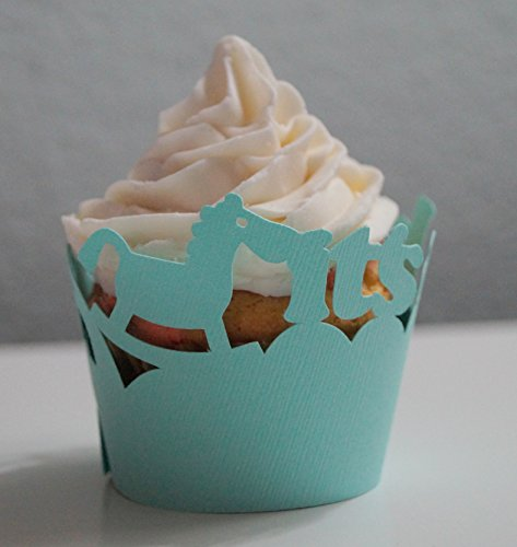 All About Details Patina Green It's-a-boy Cupcake Wrappers, Set of 12, 3in Top Diameter, 2in Bottom Diameter, 2in Tall
