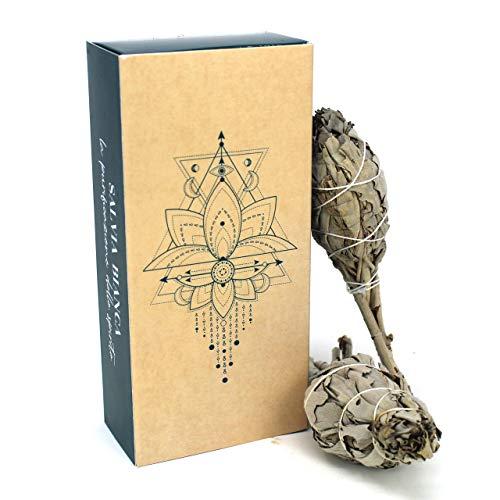 LYNPHA VITALE Smudge Salvia Bianca (White Sage) - Incenso 100% Naturale da Bruciare - Incenso Sciamanico Ideale per purificazione Ambienti, rituali e Cerimonie - 2 pz cm 12x3 (Salvia Apiana)