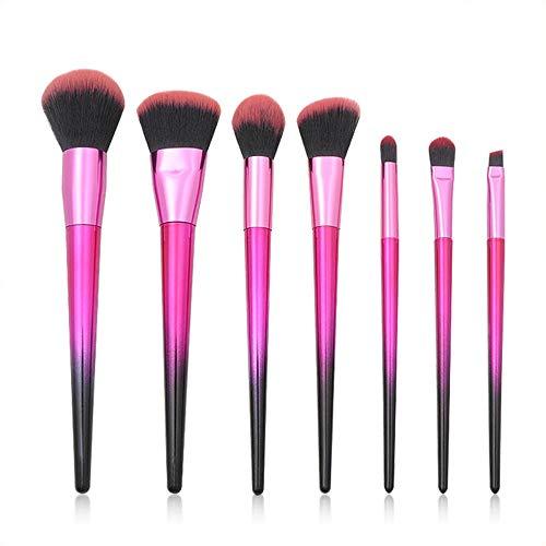 Pinceau Set pinceaux pour les yeux 7 Pcs/Set pinceau de maquillage manche rose diamant noir Brosse douce (Color : Rouge, Size : One Size)