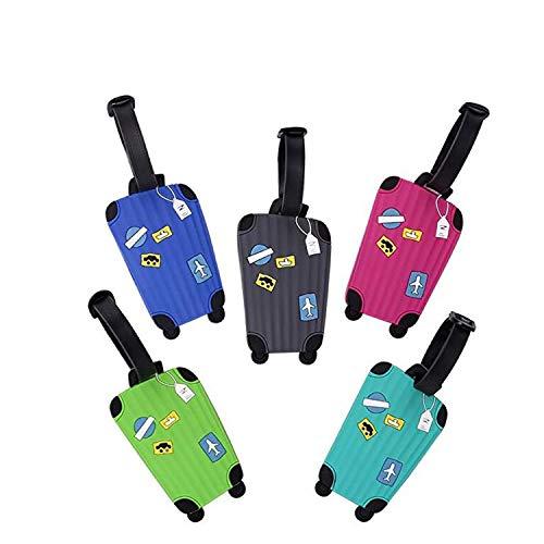 Reastar Kofferanhänger, 5 Stück Reise Gepäckanhänger Luggage Tag Bunte Koffer Tags aus Silikon zu Vermeiden Sie Gepäckverlust