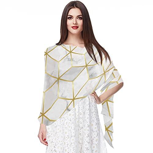 WJJSXKA Bufandas de gasa suave Chales Envolturas para vestidos Accesorios de mujer, lujo-mármol-mosaico-estrella-azulejo-sin costuras