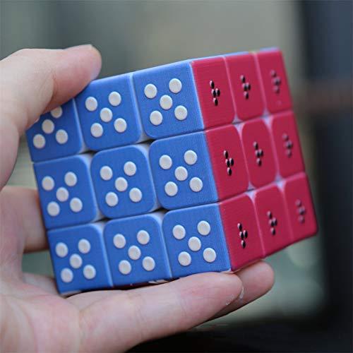 Cubo de Velocidad para invidentes, patrón sobresaliente 3D Cubo de Braille de Tercera Orden Estéreo de Huellas Dactilares Rubiks Cubo 3x3 En Relieve Personalidad Puzzle para niños - Caja de Pandora