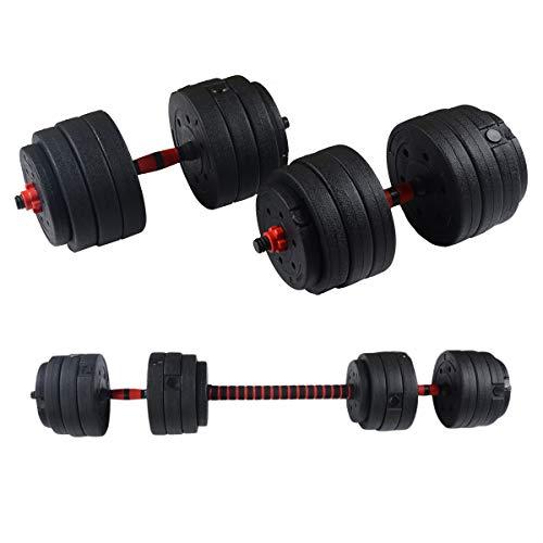N B Manubri Bilanciere Set 40kg, Kit Manubri Regolabili Bodybuilding,2in1 Bilanciere Ambientale con Manubri,per Uomini E Donne Casa Allenamento della Forza