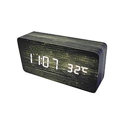 Plank Wood Grain Pattern Wooden Digital Alarm Clock Multi-Functional LED Smart Alarm Clock USB Supply Sound Control Alarm Clock Office Decoration Digital Alarm Clock Student Alarm Clock (Pattern 3)