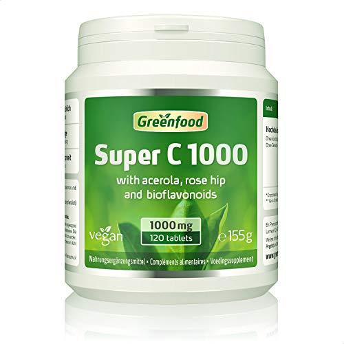 GF Super C, 1000 mg Vitamin C, hochdosiert, 120 Tabletten – mit Acerola und Bioflavonoiden. Für ein bärenstarkes Immunsystem. Schützt die Zellen. OHNE künstliche Zusätze. Ohne Gentechnik. Vegan.