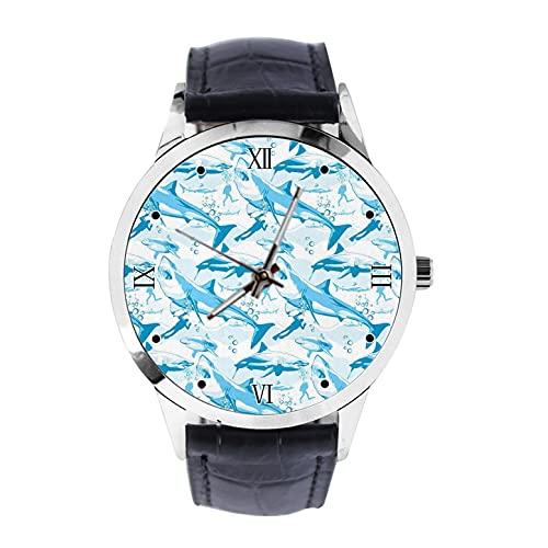 Moda Unisex Hombres Mujeres Negocio Casual Analógico Cuarzo Negro Reloj De Cuero Negro,Tiburón Azul