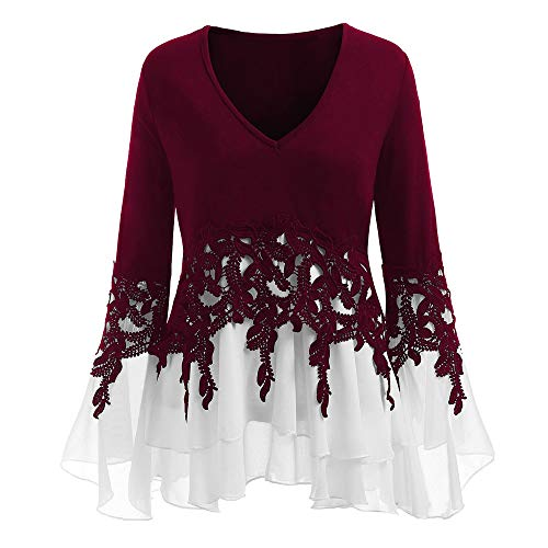AmyGline AmyGline Mode Damen Beiläufig Applique Flowy Chiffon V-Ausschnitt Lange Ärmel Blouse Tops Glocke Ärmel Sweatshirt Shirts T-Shirt
