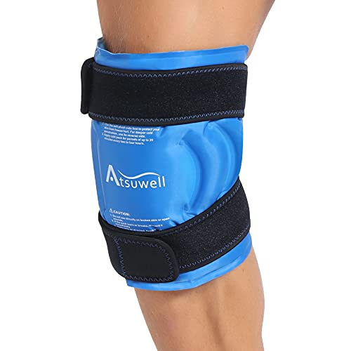 Atsuwell Ice Pack for Knee Injuries Reusable Gel Instant Cold Packs for Pain Relief, Knee Ice Pack Wrap with Cold Compression Therapy for Swelling, Bruises, Arthritis, Surgery Recovery