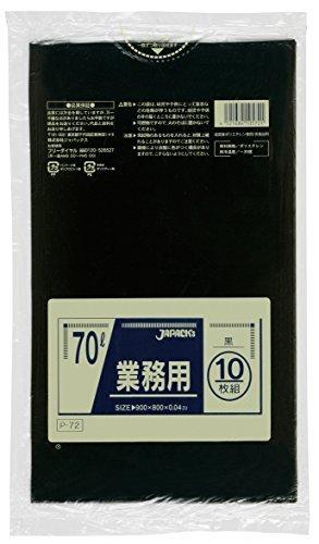 ジャパックス 業務用ポリ袋70L 黒(10枚入) P-72 00002364 【まとめ買い5冊セット】