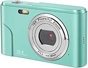 IEBRT Digital Camera with Full Hd 1080p 2.4 Inch and 16x Digital Zoom LCD Screen Pocket YouTube Vlogging Camera for Kids Adult Beginners (Green)