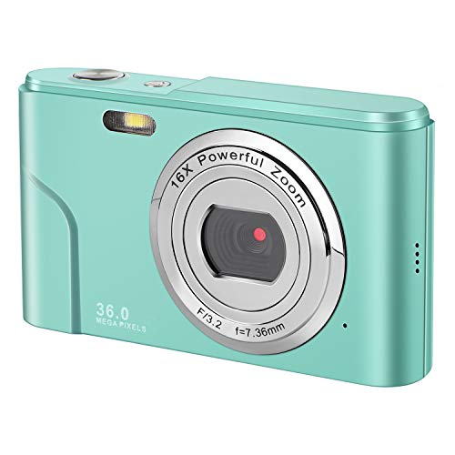 IEBRT Mini Digital Camera with Full Hd 1080p 2.4 Inch and 16x Digital Zoom LCD Screen Pocket YouTube Vlogging Camera for Kids Adult Beginners (Green)