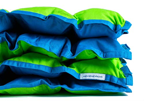 SensaCalm Medium Weighted Blanket Jasmine Green and Teal Blue
