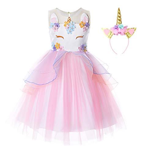 JerrisApparel Disfraz Unicornio Niña Volantes Flor Boda Partido Princesa Vestido (5-6 años, Rosa)