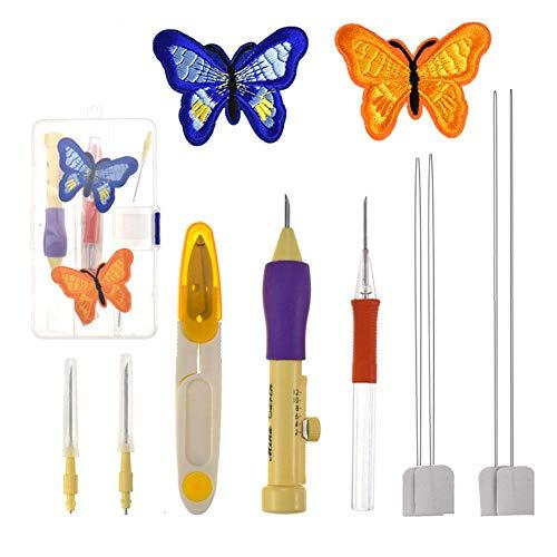 8Pcs Herramienta de aguja de perforación, Juego de bolígrafo de bordado mágico DIY Kit de bordado de aguja de perforación Kit de herramienta de costura Juegos de agujas de perforación