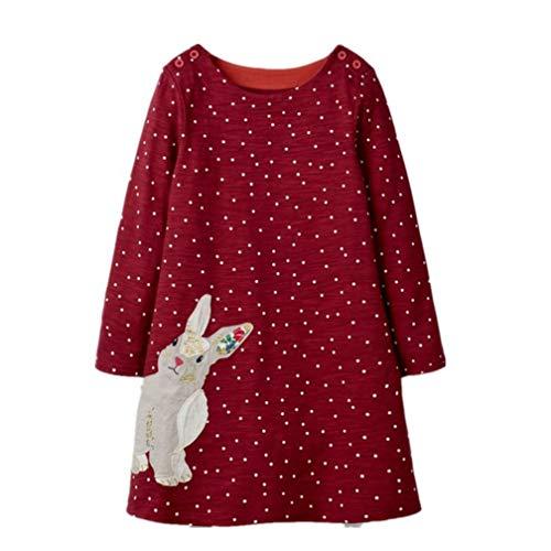 Mädchen Baumwolle Kurze/LangeÄrmel Kleid Lässiger süßer Drucken T-Shirt Kleid 1-7 Jahre (4-5 Jahre, A#03)